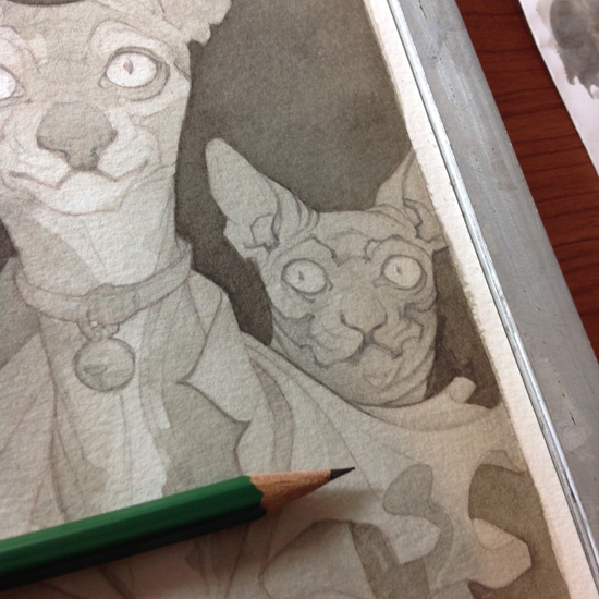 Wylie Beckert's traditional painting art process: pencil sketch on watercolor paper.