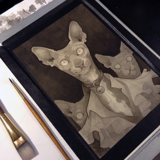 Wylie Beckert's traditional painting art process: ink wash on watercolor paper.