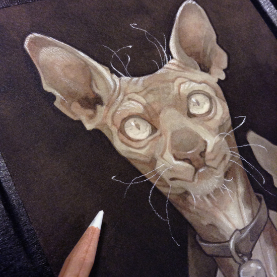 Wylie Beckert's traditional painting art process: white charcoal pencil over ink and watercolor on watercolor paper.